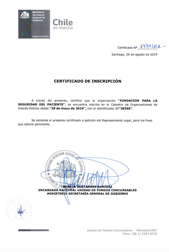 CERTIFICADO DE ORGANIZACION DE INTERES PUBLICO